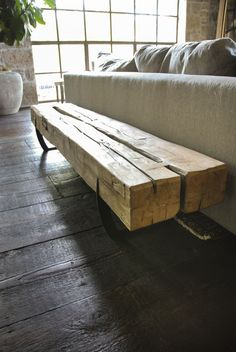 Brandner Design's Beam Bench is a repurposed piece of history. These barn beams were salvaged from a 17th century barn we disassembled in Pennsylvania. Beams this old are cut from old growth trees dating back to the 1500-1600's. These beams are hard Maple and show all the hand hewn markings of the homesteaders that milled them.