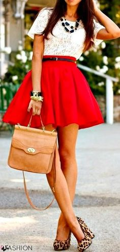 Women's White Lace Crew-neck T-shirt, Red Skater Skirt, Tan Leopard Suede Pumps, Tan Leather Satchel Bag