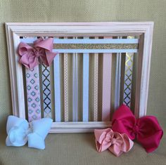 Bow Board Hairbow Holder Distressed Hair Bow Holder Bow Storage HairBow Organizer Shabby Rustic Headband Holder Girls Accessory HairClip by GraceandJewelsBow on Etsy https://www.etsy.com/listing/398320687/bow-board-hairbow-holder-distressed-hair
