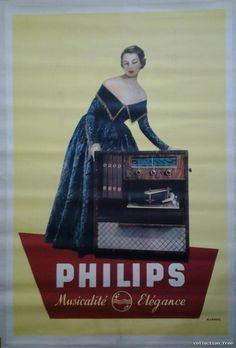 la grande époque affiche | Détails sur PHILIPS tourne disque GRANDE AFFICHE ORIGINALE ANCIENNE ...