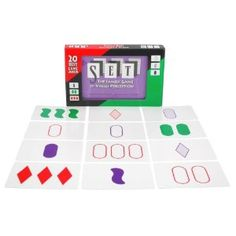 """""""Set"""" -- card game of finding 'sets' of three cards where the features either all match or all differ. Great for developing quick thinking skills -- can be played w/ multiple players or as a solitaire."""
