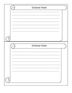 Exit Ticket Template  Ticket Template School And Math