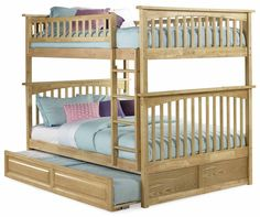 Natural Maple Columbia Bunk Bed Full/Full with a Raised Panel Trundle AB55535