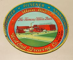 """1950's Utica Beer West End Brewing Co Serving Tray 12"""" 