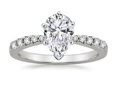 Engagement Ring -Freccia Pear Shaped Diamond Engagement Ring 0.15 tcw in 14K White Gold-ES1353PSWG