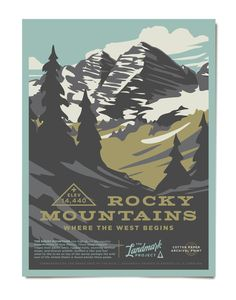Rocky Mountains Poster – The Landmark Project Mountain Decor, Winter Mountain, Gig Poster, National Park Posters, National Parks, Yearbook Staff, Indie, Alpine Lake, The Mountains Are Calling