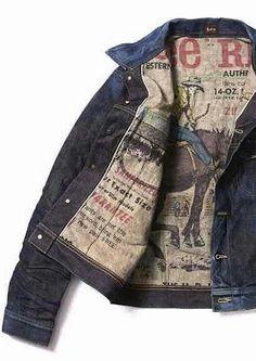 Vintage Lee Jacket with Old Advertising Image Lining Denim Jacket Fashion, Denim Jacket Men, Shirt Jacket, Denim Jeans Men, Denim Jackets, Lee Jacket, Denim Vintage, Jeans Style, Jean Skirts