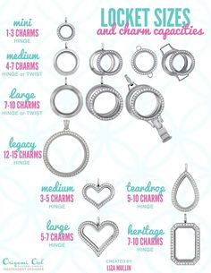 Do you ever wonder how many adorable charms will fit comfortably in each different Living Locket from Origami Owl? It truly depends on the size of the individual charms. However, this is a great guide. Feel free to email me or message me any questions. carissasstory@hotmail.com  The possibilities are endless! http://carissasstory.origamiowl.com