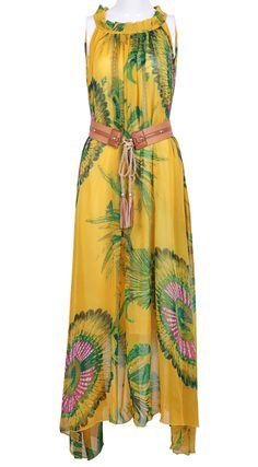 Yellow Sleeveless Floral Belt Dress