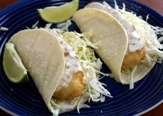 copy-cat recipe - similar to Rubio's Fish Tacos. I love mine with extra lime and lots of sauce!
