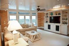 The ceiling is a pine 6″ tongue and groove that has been painted with Sherwin-Williams Pure White paint in a satin finish.