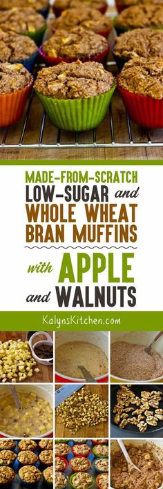 It's apple season, and these Made-from-Scratch Low-Sugar and Whole Wheat Bran Muffins with Apple and Walnuts are delicious for a lower-sugar muffin made partly with almond meal for a lower-glycemic muffin! [found on KalynsKitchen.com]