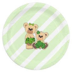 Happy St.Patrick's Day. Sweet Teddy Bear with Shamrocks Design St. Patrick's Day Paper Plates for kids party. Matching cards, postage stamps and products available in the Holidays / St. Patrick's Day Category of the Mairin Studio store at zazzle.com