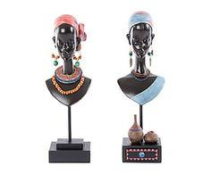 Set de 2 figuras africanas en resina Mujer
