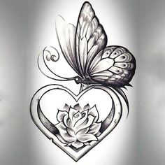 Butterfly With Heart Tattoo Design