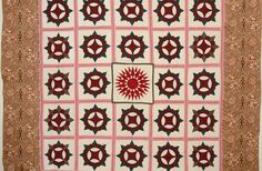 Caesar's Crown Quilt with Mariner's Compass: Ca. 1850