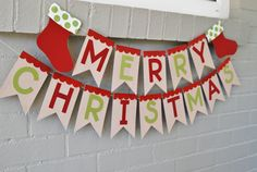 MERRY CHRISTMAS BANNER Red and Green by luluandjayne on Etsy, $20.00