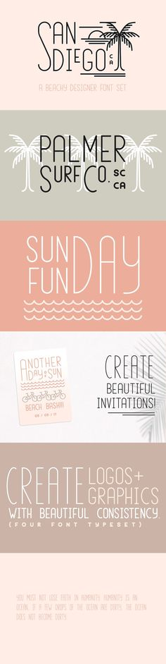San Diego | Beach Designer Font Set - San Diego is a four-font typeset that is made specifically to make a designer's job a little easier. It has a beautiful vintage style that makes retro line-style logos a breeze to make! It's also perfect for invitations, signage, and so much more. There are four fonts in four different sizes (tall, medium, small, and extra small) that work together to create a cool vintage logo look. By Jen Wagner Co $15 #affiliatelink