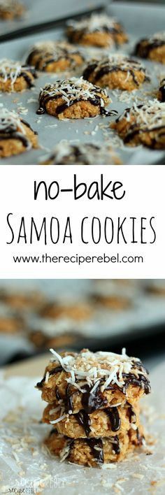 No-Bake Samoa Cookies: No-bake cookies made with butterscotch pudding, topped with melted chocolate and toasted coconut: all the flavors of a Samoa cookie but so much easier! www.thereciperebel.com