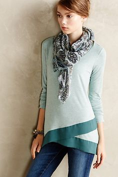 #anthrofave love this color for spring and the asymmetrical hem with the different texture is great!