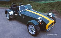 Caterham 7 Classic - Based on the classic Lotus 7, but with contemporary engineering. In classic Lotus livery. Can't get more British than this.