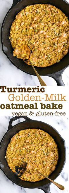 Turmeric Golden-Milk Oatmeal Bake that is vegan and gluten-free! A delicious turmeric breakfast recipe that is so easy to make and filled with healthy ingredients. Minimal work and prep!