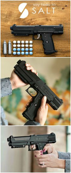 Shaped like a traditional handgun, the SALT Pepper Spray Gun shoots rounds filled with a powdered pepper spray that create a chemical cloud upon impact, incapacitating anyone in the vicinity.