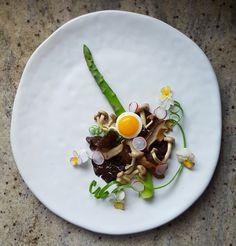 Shitaki, Shimeji and Wood Ear Mushroom, Asparagus, Quail Egg, Radish, Spring Onion and Viola Flower