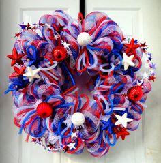 Summer Deco Mesh Wreath   Labor Day - Patriotic Wreath - Summer Deco Mesh Wreath - 4th of July ...