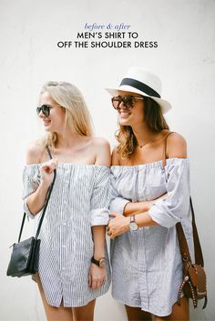 DIY: men's shirt into an off the shoulder dress
