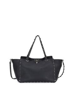 Rockstud Rolling Leather Tote Bag, Black by Valentino at Neiman Marcus.