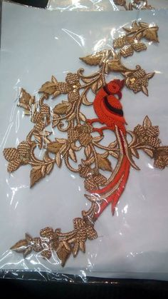 zardosi patch ...beautiful parrot with flowers for blouses