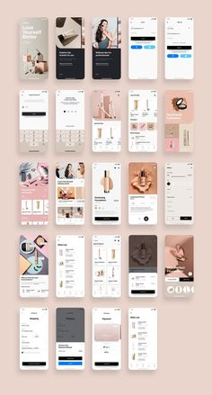 Cosmo Beauty App UI Kit is a pack of delicate UI design screen templates that will help you to design clear interfaces for beauty / cosmetic shopping app faster and easier. Compatible with Sketch App, Figma & Adobe XD Ios App Design, Mobile Ui Design, Interface Design, Android App Design, Mobile App Design Templates, Interface App, Design Page, Design Blog, Portfolio Design