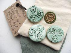 Handmade Green Ceramic Pottery Celtic Triskele Magnet Set in Handmade Natural Calico Gift Bag - kitchen office decoration - Set of 3 Magnets. £7.50, via Etsy.
