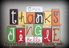 Reversible Holiday blocks Give Thanks & Jingle Bells