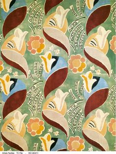 Screen-printed velvet furnishing textile, designed by Duncan Grant and intended for use on the P and O liner 'Queen Mary', produced by Allan Walton 1936