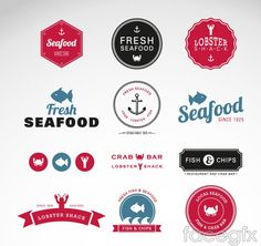 Creative seafood labels vector