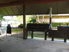 250 gallon smoker, wood grill, propane grill, 6 gallon fryer and 2 additional propane burners.