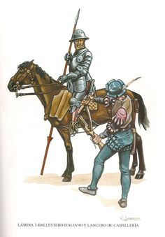 Spanish troops in Italy in 16th Century. Lancer and an Italian crossbowman.