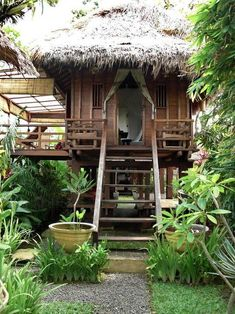 Balinese traditional barn house - Houses for Rent in Kuta Utara Thai House, House Bali, Rest House, House In The Woods, My House, Bamboo House Design, Jungle House, House On Stilts, Farm Stay