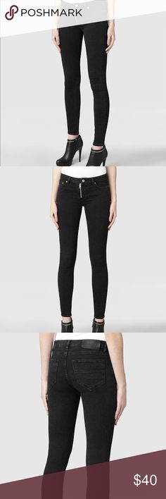 AllSaints skinny black track jeans Worn only twice, perfect condition. Low rise. Some stretch but their denim runs small. If you are normally a 26 you'd be a 27. Zipper opening.  Suggested user! Top rated seller Always authentic Smoke free house No trades Posh transactions only Open to offers All Saints Jeans Skinny