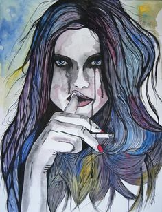 Le temps qui fuit  Watercolor, charcoal, acrylic on paper 50×65 cm Natasha vkikx@yahoo.com  http://natasha-art-illustrations.com