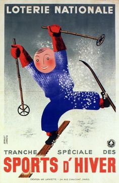 National Lottery Winter Sports, 1938 - original vintage poster by Derouet Lesacq listed on AntikBar.co.uk
