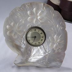 Carved MOTHER Of PEARL Shell with CLOCK  Stand Up by talkingbirdie