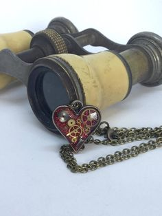 Timeless small red steampunk heart pendant