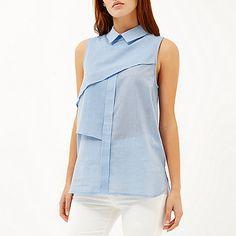 Blue pleat layer sleeveless shell shirt
