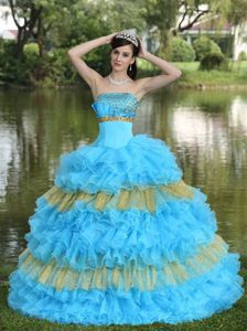 Berlin Film Festival 2014 Two-toned Strapless Beading Quinceanera Dresses in Organza - Quinceanera 100