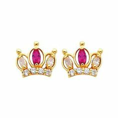 14K Yellow Gold Crown Red CZ Stud Earrings with Screw-back for Baby & Children The World Jewelry Center. $67.00. Promptly Packaged with Free Gift Box and Gift Bag. Save 64% Off!