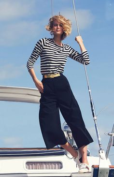 Think of these as their cooler tomboy cousins Pre-Fall 2014 and Summer Trends: How to Wear Culottes, Gauchos, and Midi-Pants Boat Fashion, Nautical Fashion, Yacht Fashion, Nautical Outfits, Nautical Style, Nautical Wedding, Style Fashion, Sailing Outfit, Boating Outfit