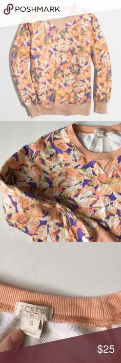 J Crew Sweatshirt! J Crew peach and blue floral sweatshirt! So adorable! This screams spring to me!!! Gently used condition! 24.5 inches long. Bust 19 inches across! J. Crew Tops Sweatshirts & Hoodies